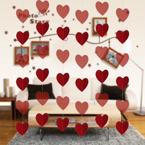 Festnight Luxus Large Size 6 * 8ft Red Heart String DIY Dekorationen für Valentinstag, Verlobung, Hochzeit Partei Hintergrund Dekor Supplies
