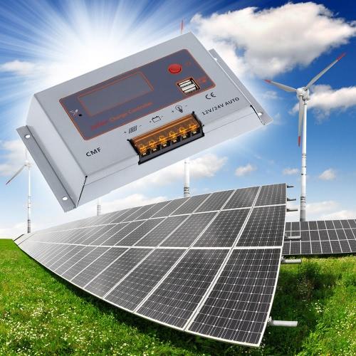 Anself Intelligent 20A 12V / 24V LCD солнечный регулятор обязанности автоматического регулятора PWM зарядки Двойной выход USB панели солнечной батареи защита от перегрузки