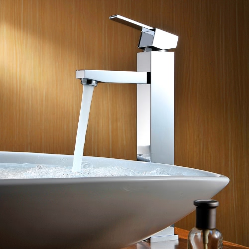 Homgeek Wysokiej jakości Nowoczesne Deck Góra Jednouchwytowa Łazienka Umywalka Umywalka Brass kran Mixer Tap Chrome Finish Home Hotel