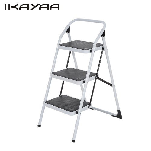 iKayaa Non-slip Folding 3 Step Ladder with Hand Grip Iron Frame Portable Step Stool 330LB/150KG Capacity  for Multi Use EN131 Approved