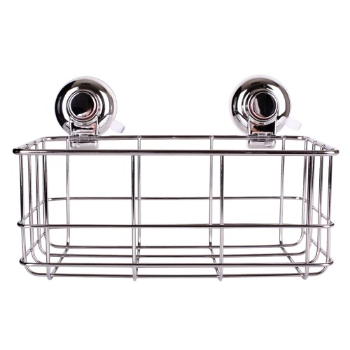 High-quality Wall-mounted Rust-resistant Stainless Steel Vacuum Suction Cup Bathroom Kitchen Shower Caddy Rack Shelf Holder Basket Organizer for Shampoo Spice Towel Bathroom Accessories