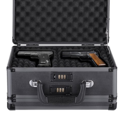 iKayaa Double Sided Aluminum Hard Pistol Handgun Case