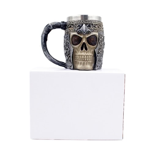 TOMTOP / Hot Unique Stainless Steel Liner Creepy 3D Skull Coffee Beer Milk Mug Cup Tankard Novelty for Halloween Decoration Gift