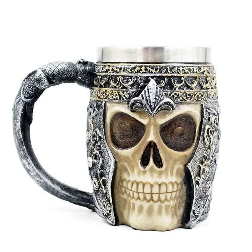 Cráneo de acero inoxidable de línea caliente única espeluznante 3D Café Cerveza Taza de la taza de leche jarra de cerveza de la novedad para el regalo de la decoración de Halloween