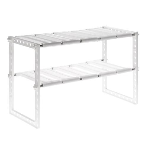 Multi-functional Extendable 2 Tier Under Sink Shelf Organizer Holder Kitchen Bathroom Storage Shelf Shoes Rack Stainless Steel + Plastic