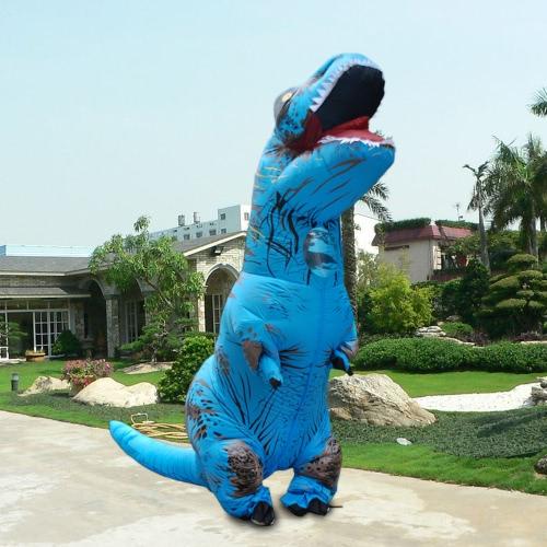 Смешной надувной костюм динозавров Trex Костюм с воздушным вентилятором, взорвавший костюм Хэллоуина Cosplay Fancy Dress Animal Costume Jumpsuit - синий, для взрослых