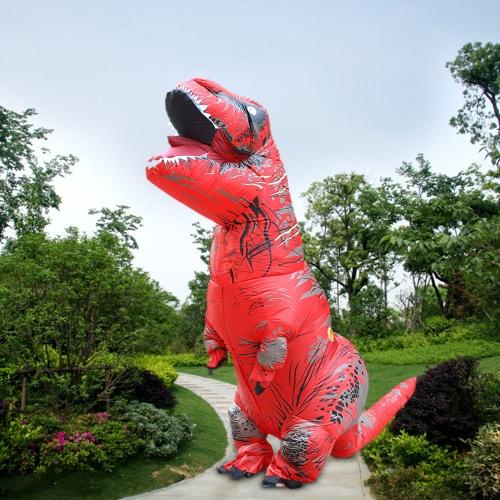 Funny Inflatable Dinosaur Trex Costume Suit Air Fan Operated Blow Up Halloween Cosplay Fancy Dress Animal Costume Jumpsuit--Red, Adult