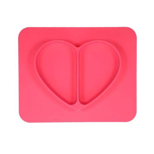 2 in 1 Safe Waterproof Silicone Rose Heart Divided Placemat Plate Bowl Tableware for Baby Toddler Kids