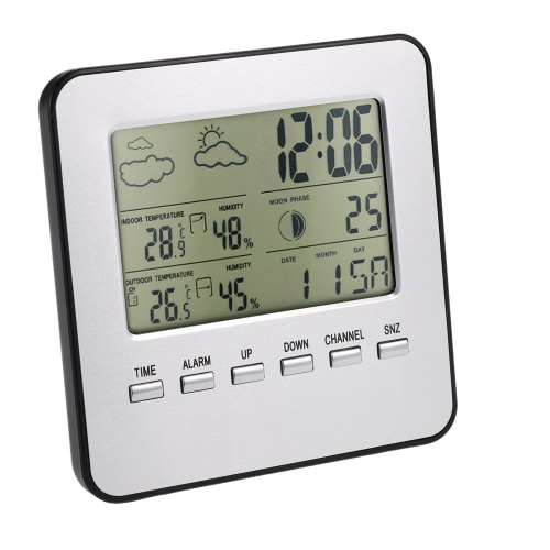 TOMTOP / Multi-functional Wireless Weather Station Clock LCD Digital Indoor Outdoor Thermometer Hygrometer Calendar Alarm Moon Phase Display