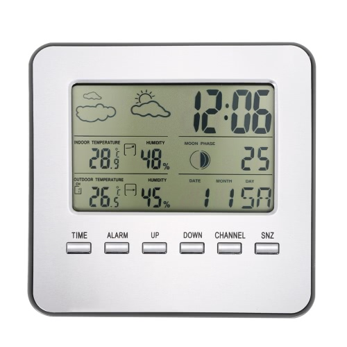 Multi-functional Wireless Weather Station Clock LCD Digital Indoor Outdoor Thermometer Hygrometer Calendar Alarm Moon Phase Display