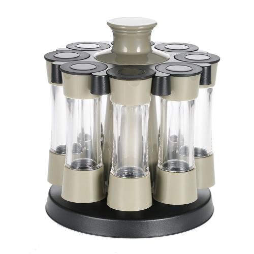 Rotierende 8pcs Gewürze Flaschen / Set Acryl Gewürz Rack-Salz-Pfeffer-Speicher-Organisator Home Küchenwerkzeug