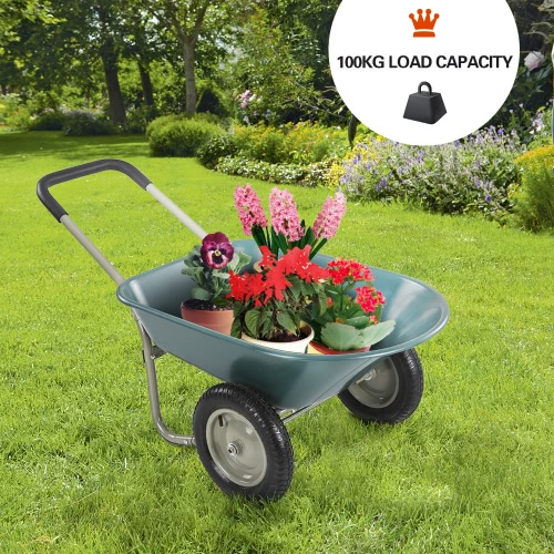 iKayaa Dual-Wheel Yard Wheelbarrow Garden Utility Dump Cart
