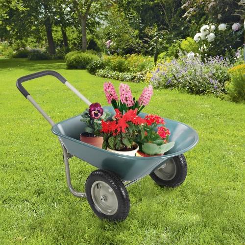 iKayaa à deux roues Jardin Brouette Jardin Utilitaire Dump Panier