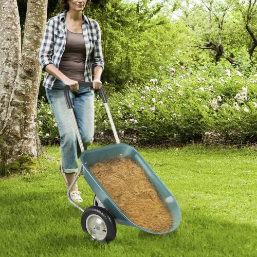 iKayaa Dual-Wheel Home Yard Wheelbarrow Rover 100KG Capacity Garden Utility Dump Cart