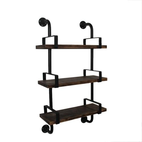 Etagère de style industriel iKayaa en acier et en bois- 3 Etages