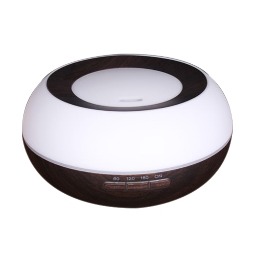 Portable 300ml ätherisches Öl Aroma Diffusor Cool Mist Maker Ultraschall Luftbefeuchter Luft Aromatherapie Zerstäuber mit 7 Farben LED Licht für Home Office Study Yoga Spa Holz Korn Auto Absperrung