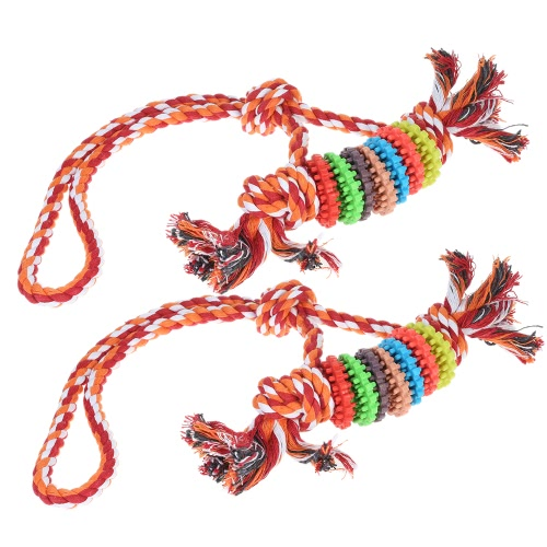 2pcs Chew Toy z liną Fetch i Tug Rope Interaktywny IQ Pet Dog Pies Toy Pies Zęby czyszczące Chew Toy Nietoksyczny Bezpieczny Zabawna Zabawka dla Psów Koty