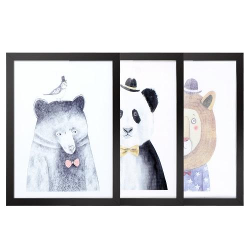 30 * 40cm del patrón animal Lona extraíble cuadro de la pared arte de la etiqueta de decoración de interior hermosa pintura reutilizable 3 paneles con regalo de inauguración del marco