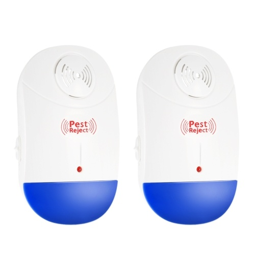 Decdeal Pack of 2 Electronic Ultrasonic Pest Repeller Non-toxic Plug In Repellent for Mice Mosquito Ants Spiders Roaches Repelling AC90V-250V