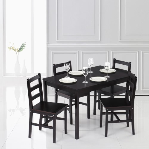 iKayaa Modern 5PCS Mesa de comedor de cocina de madera de pino y 4 sillas