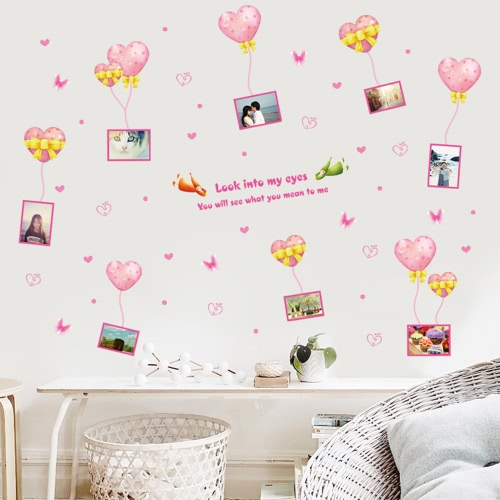 Romantic Hearts & Photo Frame Wall Sticker Removable Cute Pink Art Decal Room Decoration Reusable Wallpaper Photo Wall Sticker