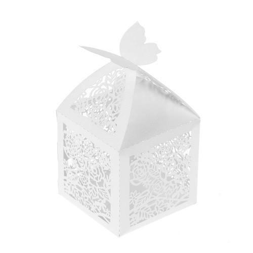 50pcs / set мини-лазерная вырезать полые свадебные коробки с коробкой конфет коробки белого жемчуга подарочные коробки для вечеринки