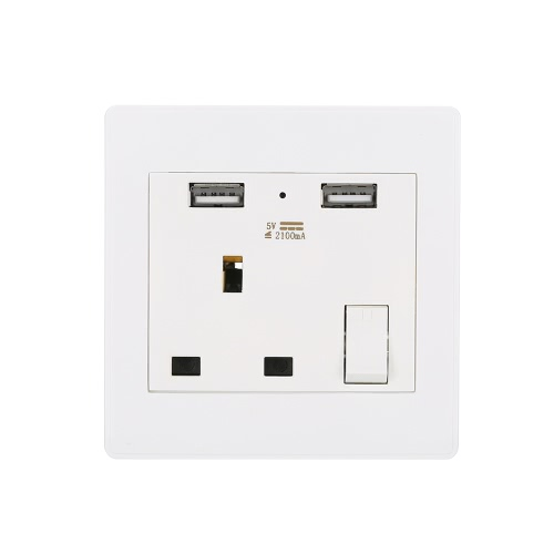 Wall Socket Dual 2 USB Plug Switch Power Supply Plate Universal 2100mA High Quality UK Charger