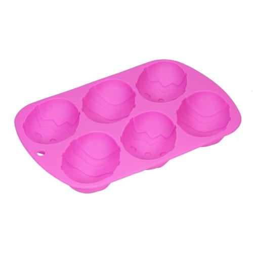 6 Schalen Silikon-Kuchen-Form-Osterei-Form-Form-Behälter-Backen-Werkzeug Multifunktions DIY Form-Seifen-Form-Pudding-Gelee-Form