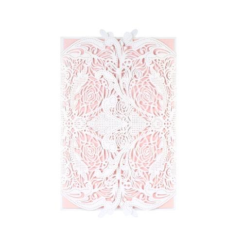 20pcs пригласительные держатели + 20шт Внутренние листы Свадебные пригласительные карточки Набор Перламутровая бумага Лазерная резка Полые цветочные шаблоны Приглашения