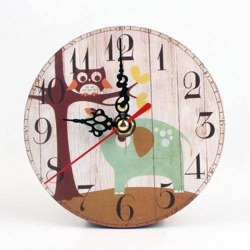 European-style Originality Retro Art Clock for Bedroom Living Room Study Round Small Owl Alarm Clock