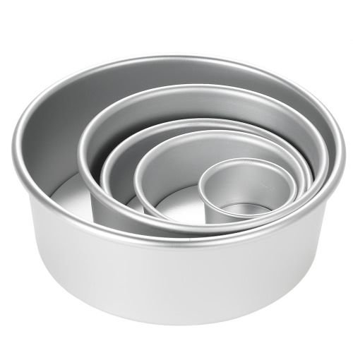 5pcs/set Aluminum Alloy Round Cake Mould Chiffon Cake Baking Pan Pudding Cheesecake Mold Set with Removable Bottom