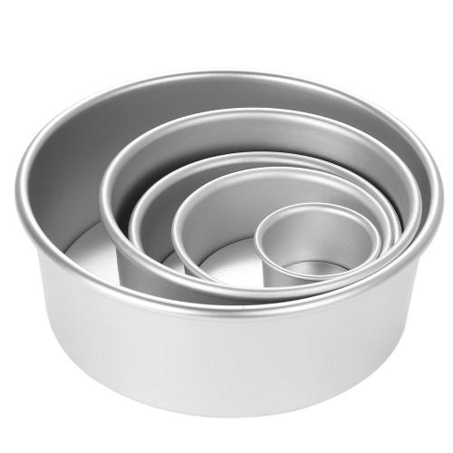 5pcs / set molde redondo del pastel de queso del pudín de la cacerola de la hornada de la torta de la gasa del molde de la torta de la aleación de aluminio con parte inferior desprendible
