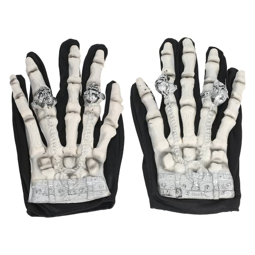 Full Finger Horror Skeleton Guantes Ghost Skull Bone Guantes Traje para Halloween Cosplay Role Play para Adultos Adolescentes