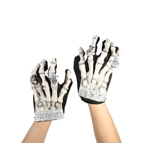 Pełne Finger Horror Skeleton Rękawice Duch Skull kostne Rękawice Kostiumy
