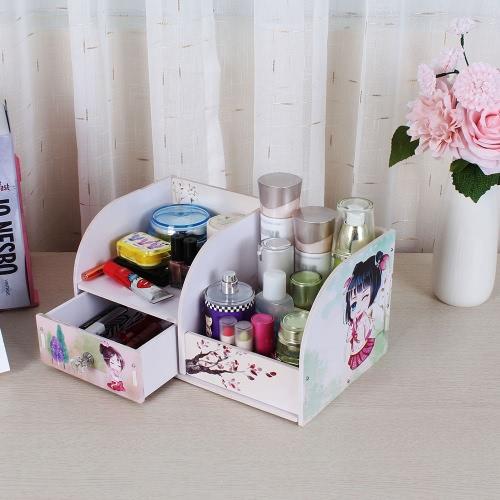 Household Item Drawer Type Storage Box Handmade Creative DIY Wooden Box Water-resistent Makeup Cosmetics Organizer Case