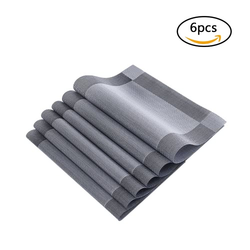 12 * 18 inches PVC Heat-resistant Woven Placemat Stain-resistant Anti-skid Washable Dining Table Mats Placemats--Set of 4 Black Grey