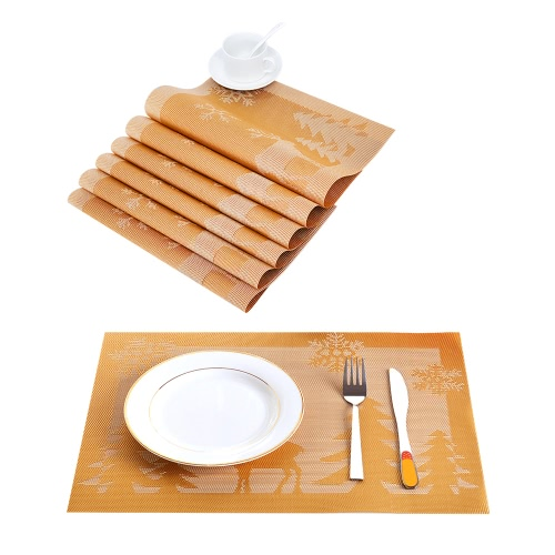 12 * 18 inches PVC Heat-resistant Woven Placemat Stain-resistant Anti-skid Washable Dining Table Mats Placemats for Christmas--Set of 4 Camel