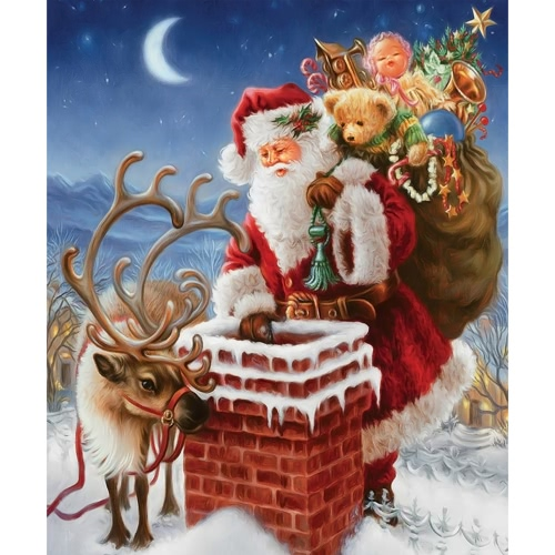 Handmade DIY Diamond Painting 5D Santa Claus Pattern Pasted Cross Stitch for Living Room Children's Bedroom