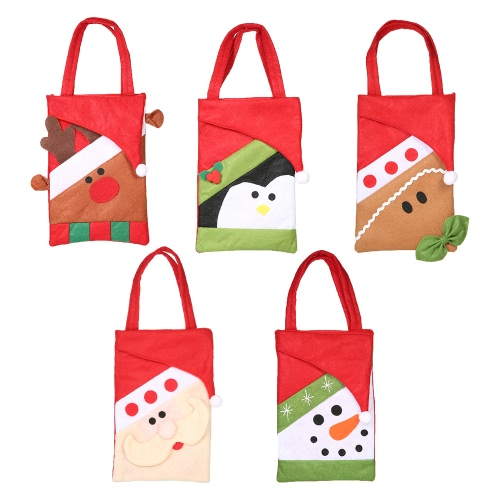 5pcs/set Christmas Candy Bags Gift Wrap Pocekts Bags X'mas Decorations Ornaments--Reindeer