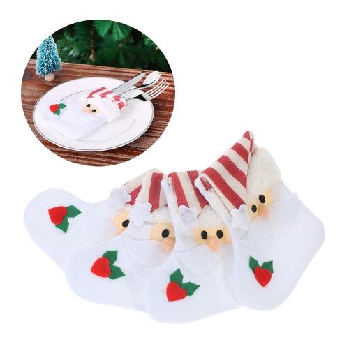 4pcs / set Supporti da tavolino di Natale del Babbo Natale