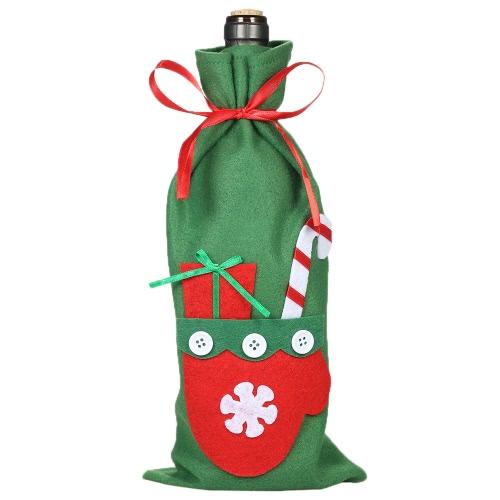Рождественская винная бутылка с сумкой для подарков X'mas Gift Candy Bag с пятновыми лентами Рождественская вечеринка Оранты