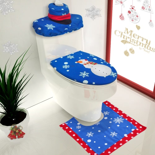 3pcs/set Christmas Bathroom Decorations Toilet Seat Cover + U-shaped Rug + Tank Lid & Tissue Box Cover Set Christmas Ornaments