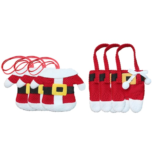 3 Sets of Christmas Santa Suit Coats Pants Style Cutlery Holders-small