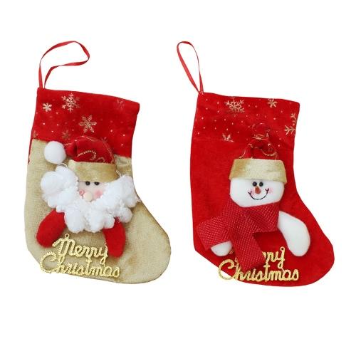6pcs / set рождественские висячие чулки Санта снеговика подарки конфеты сумки Рождественская елка Decoartions украшения
