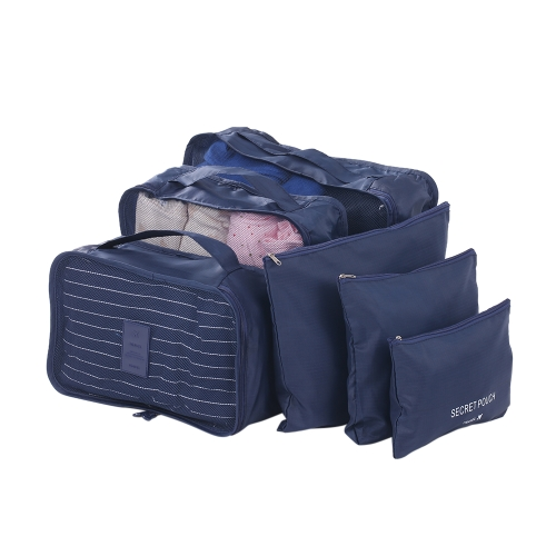 Esonmus 6pcs/set Waterproof Oxford Travel Storage Bags Pouches Luggage Packing Cubes Organizer for Clothing Toiletries Cosmetics--Navy Blue