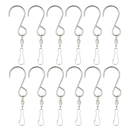 Esonmus 12pcs/set Stainless Steel 360° Swivel Hooks Clips for Hanging Plants Pots Wind Spinners Hanger Wind Chimes Crystal Twisters