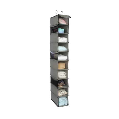 10-Tiers Non-woven Closet Hanging Shelf Organizer Collapsible Clothing Shoe Accessories Storage Box Holder--Grey