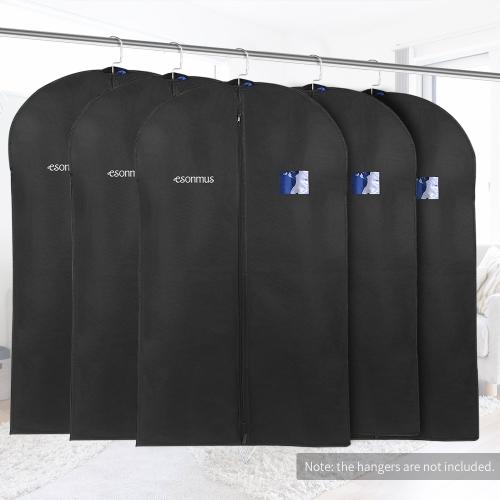 Esonmus 5pcs 128 * 60cm Non-Woven Dustproof Hanging Garment Clothes Bags Dress Suit Covers with PVC Window for Closet Travel--Black