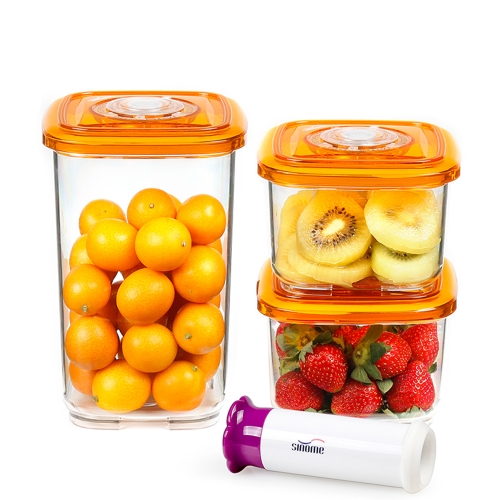 sinome 3pcs/set Vacuum Storage Container with Handheld Vacuum Pump Food Vacuum Containers Lids Sealed Food Storage Container Grain Storage Tank Transparent Square Food Storage Box 700ml+700ml+1800ml