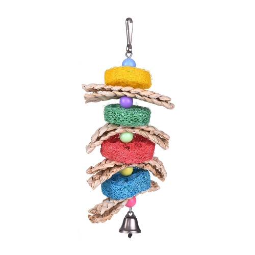 Bird Cage Toys Hanging Chew Foraging Toys for Parrot Parakeet Budgie Cockatiel with Bell Knots Block